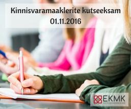 Järgmine kutseeksam toimub 01.11. 2016